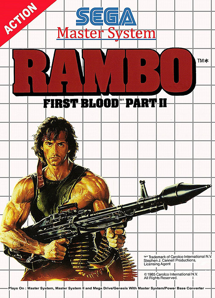 Rambo First Blood Part II System For Sega Master Vintage With Manual and Case