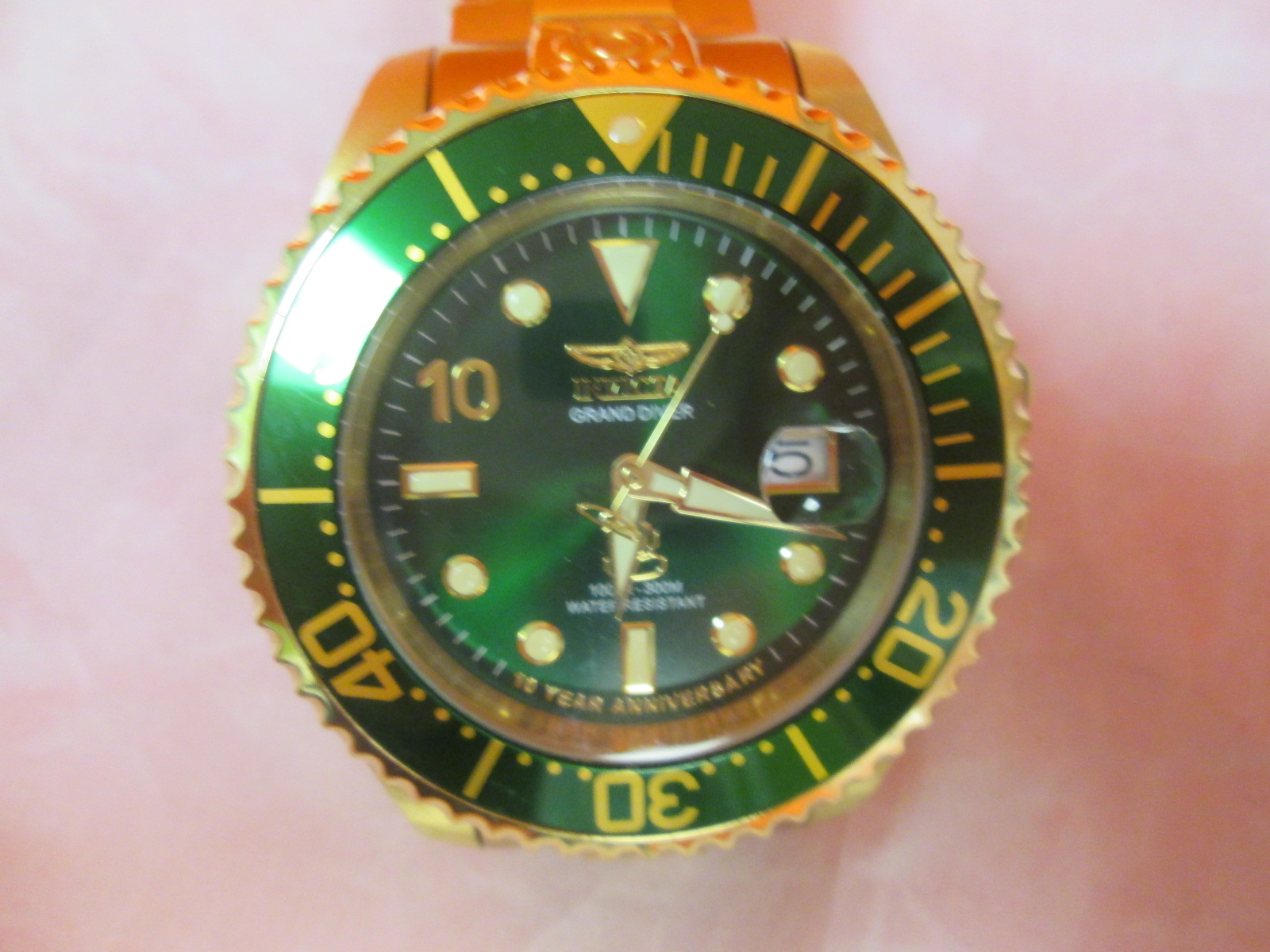 Invicta 18674 Men's Grand Diver Green Dial Yellow Gold Steel Bracelet