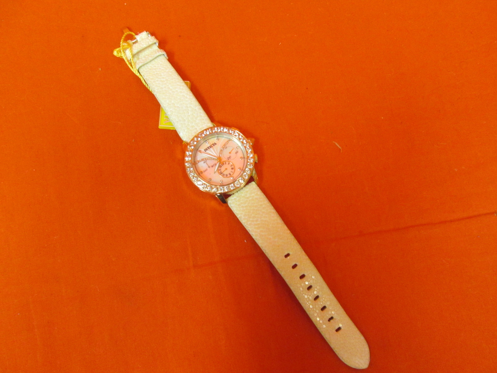 Invicta 18514 Angel Dust Day Date Diamond Morganite Stingray Strap
