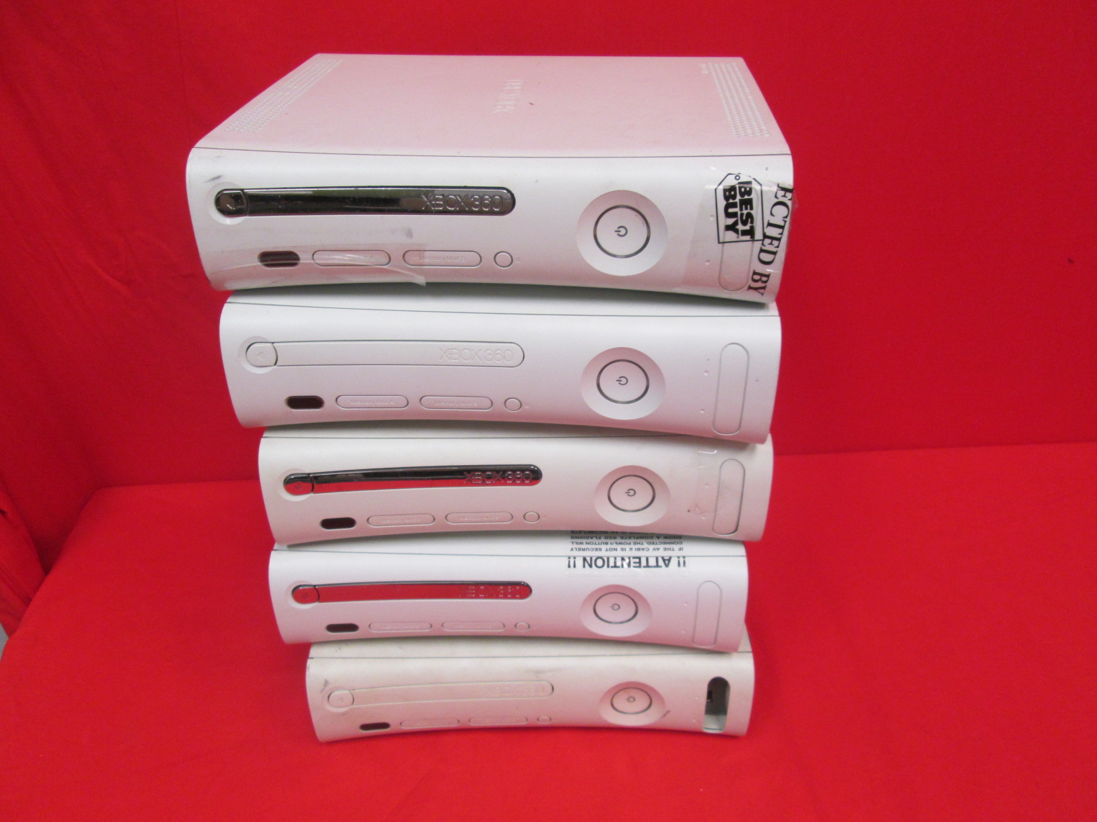 Lot Of 5 White Xbox 360 Video Game Consoles Only