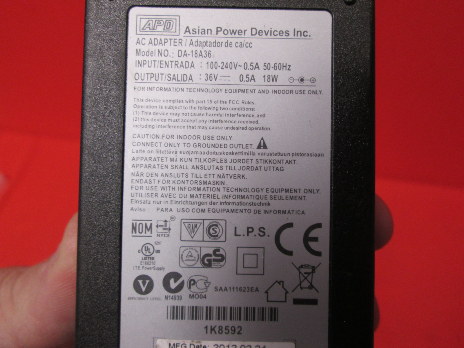 AC Adapter Apd DA-18A36 Asian Power Devices Kodak Printer Power Supply