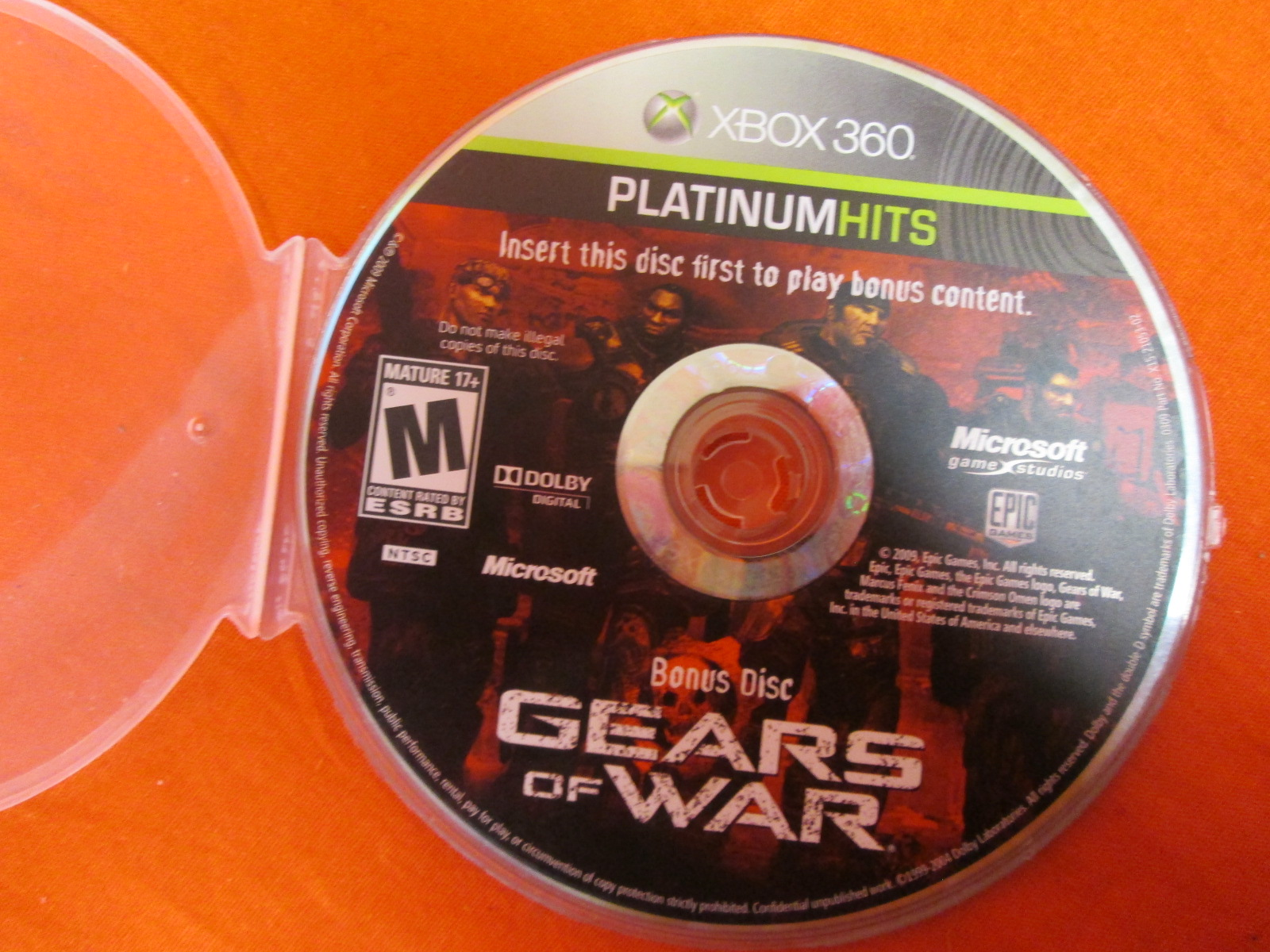 Gears Of War Replacement Bonus Disc For Xbox 360