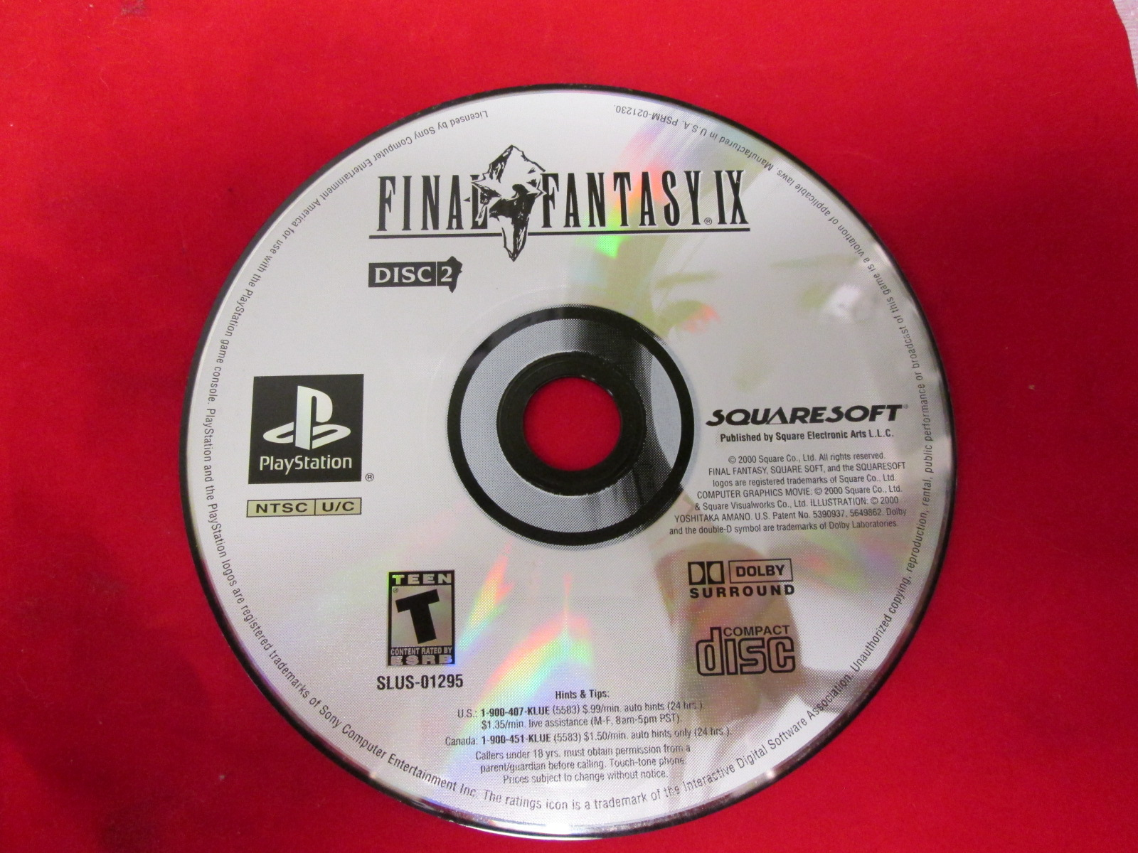 Final Fantasy IX For PlayStation 1 Disc 2 Only
