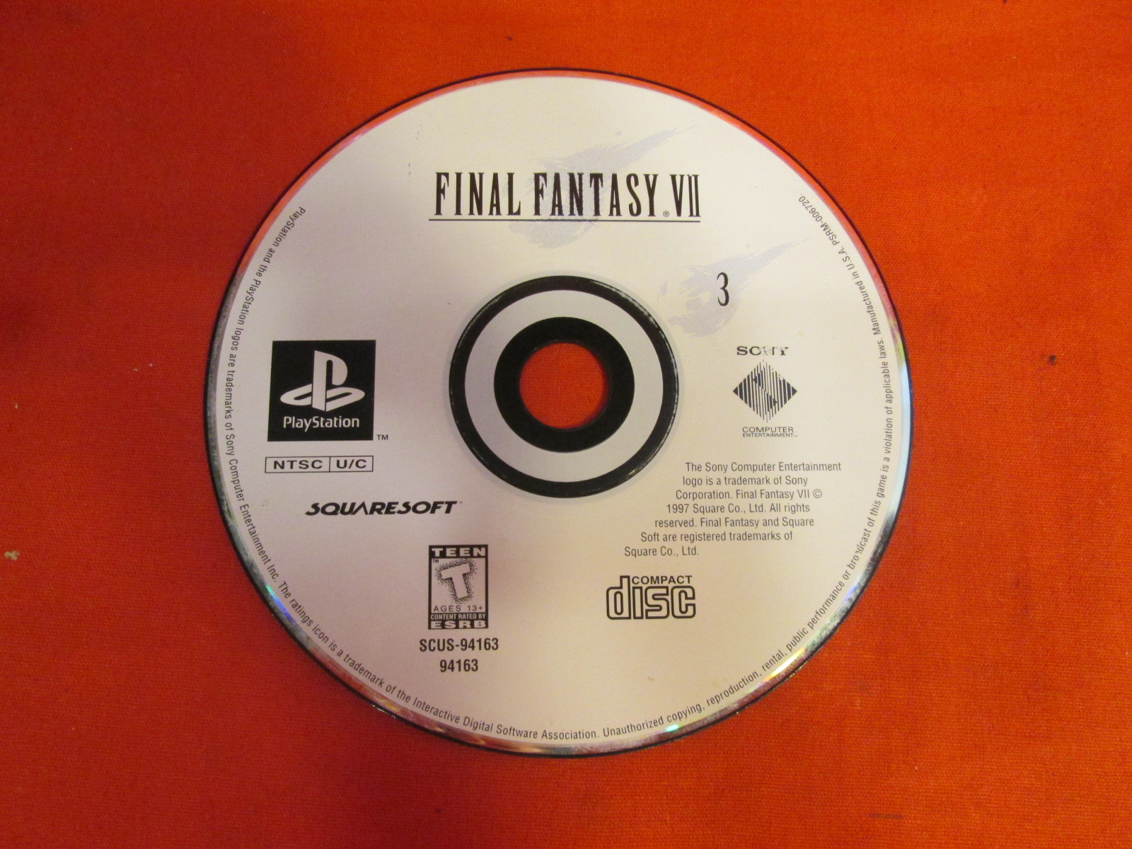 Replacement Disc Final Fantasy VII For PlayStation 1 Disc 3 Only