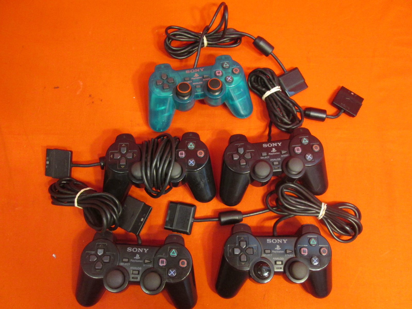 Image 1 of Broken Lot Of 5 Sony OEM Dualshock 2 PlayStation 2 Wired Controllers