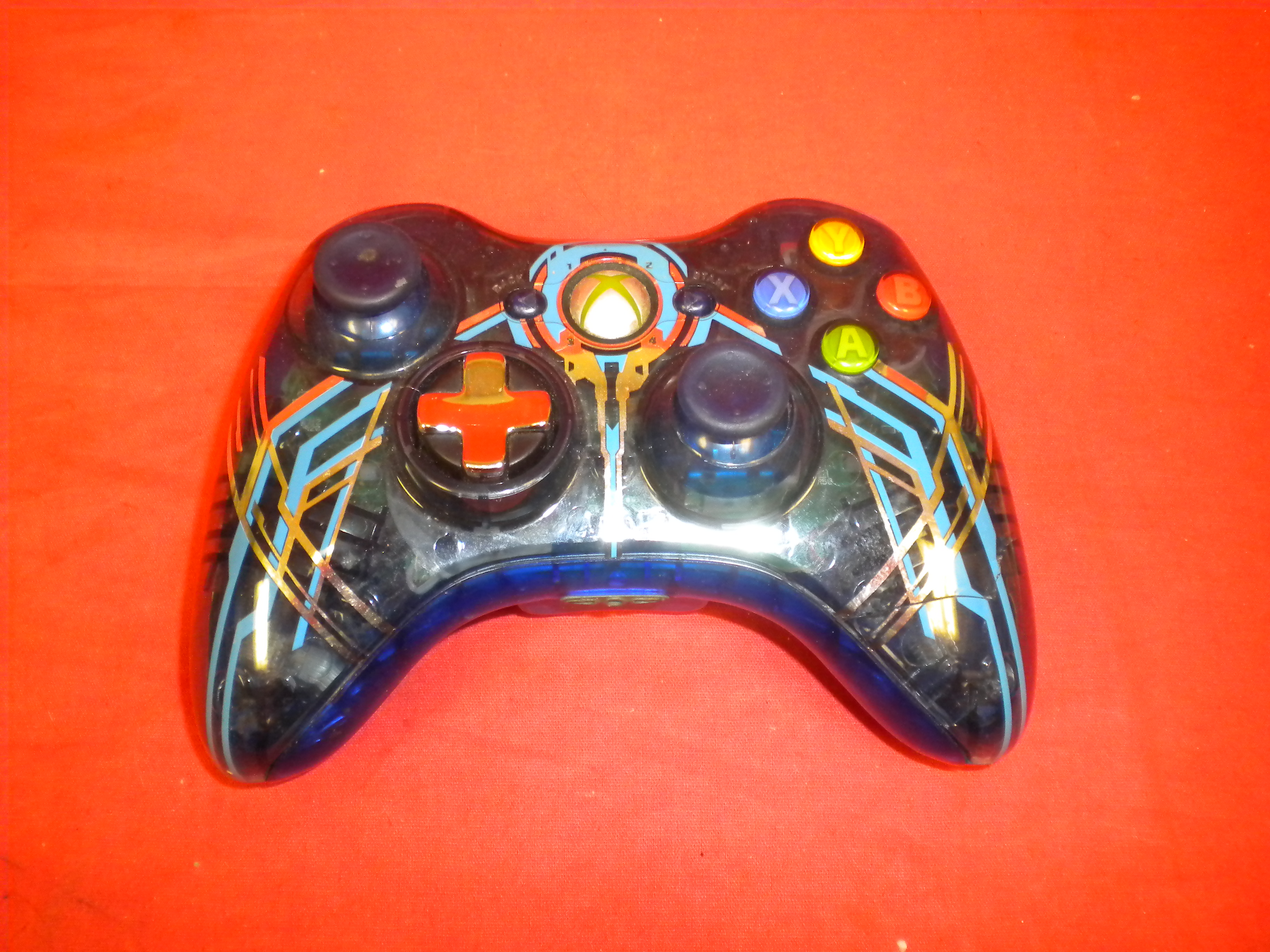 Broken Xbox 360 Controller With Blue And Silver Custom Housing For