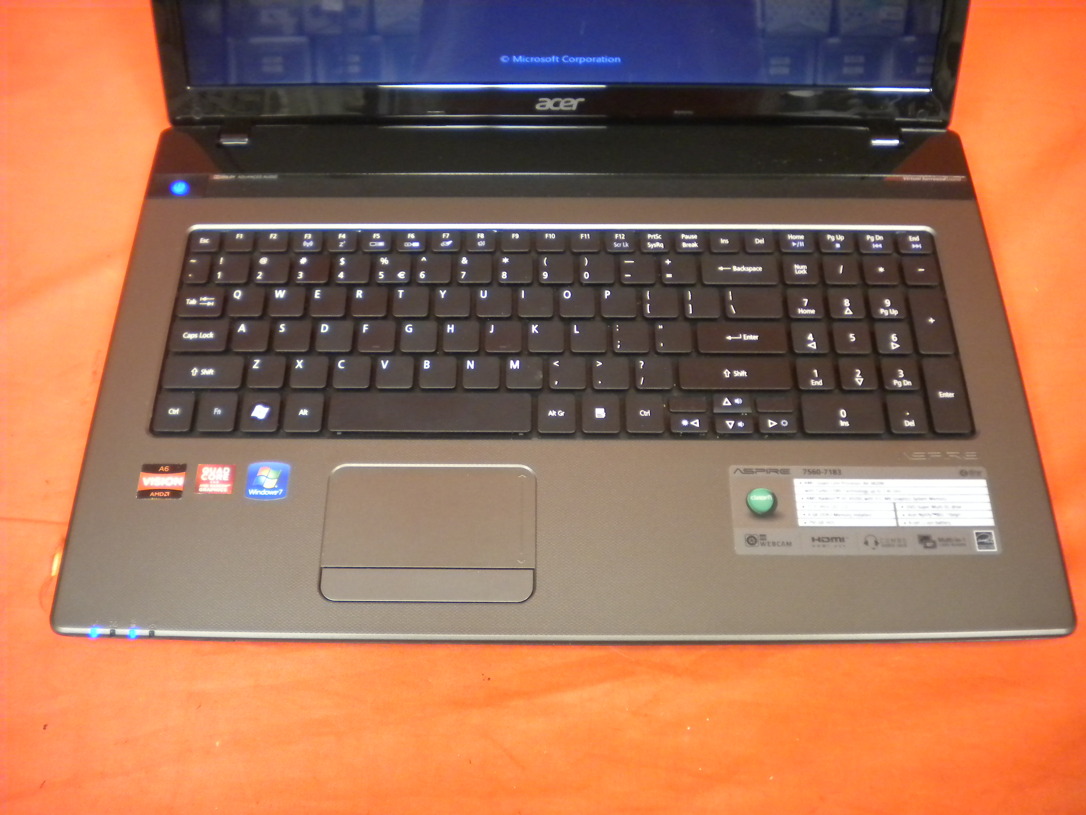 Image 1 of Acer Aspire 7560-7183 Laptop 17.3