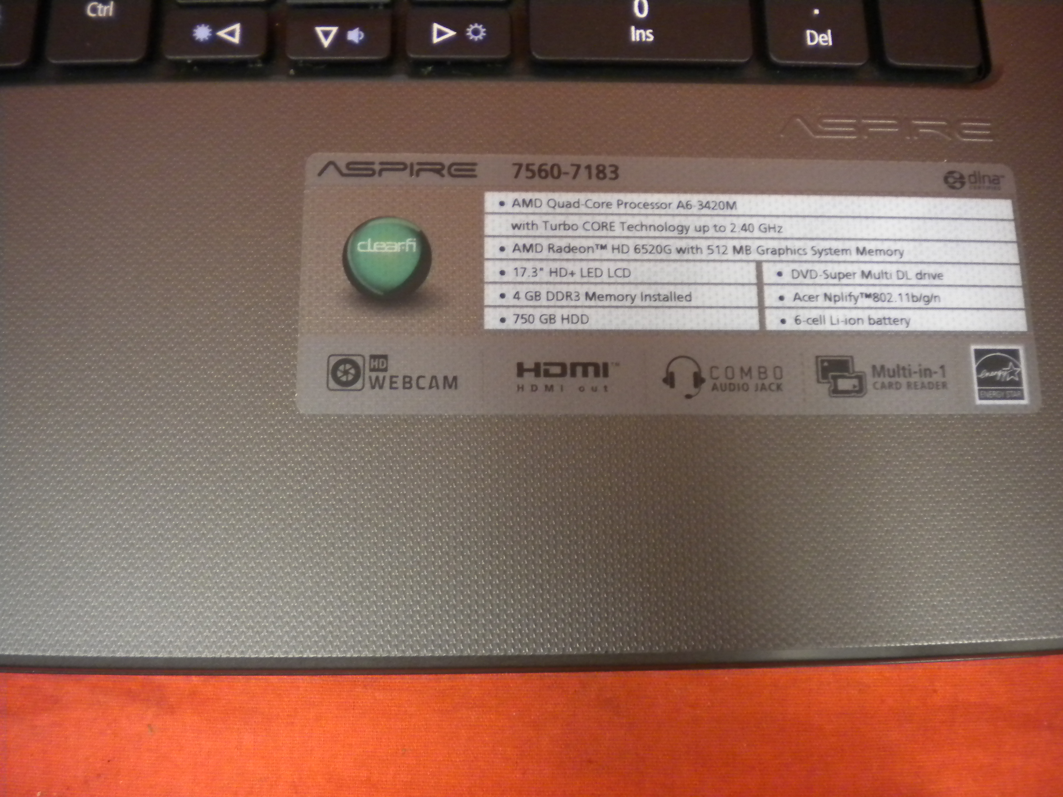 Image 2 of Acer Aspire 7560-7183 Laptop 17.3