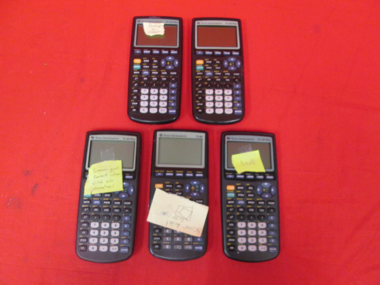 Broken Lot Of 5 Texas Instruments TI-83 Plus Graphing Calculators