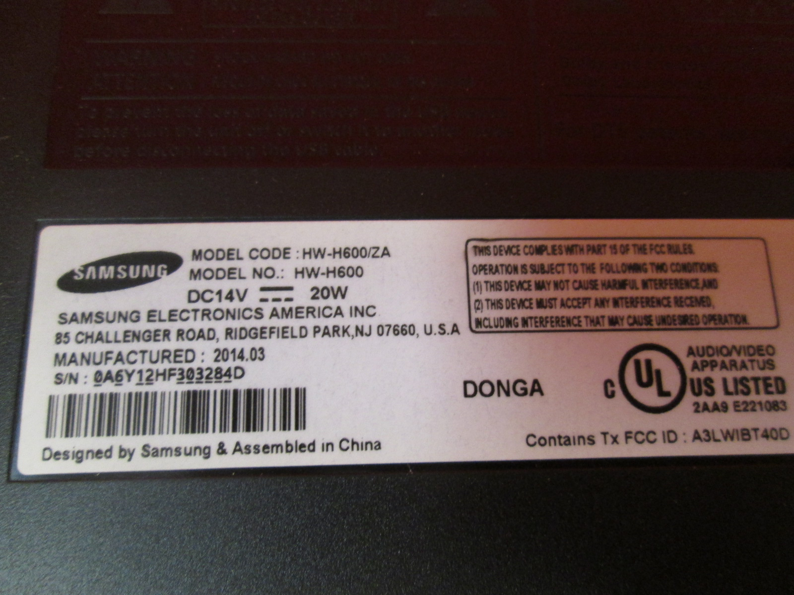 Image 2 of Samsung HW-H600 4.2 Channel Sound Stand With Dual Built-In Subwoofers