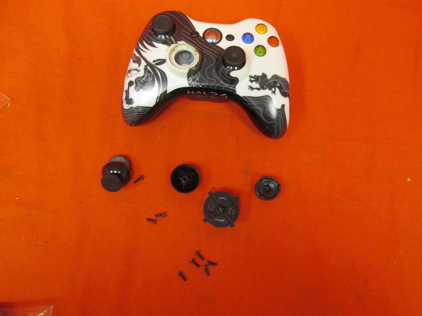 Halo 4 Black And White Modded Controller Parts For Xbox 360