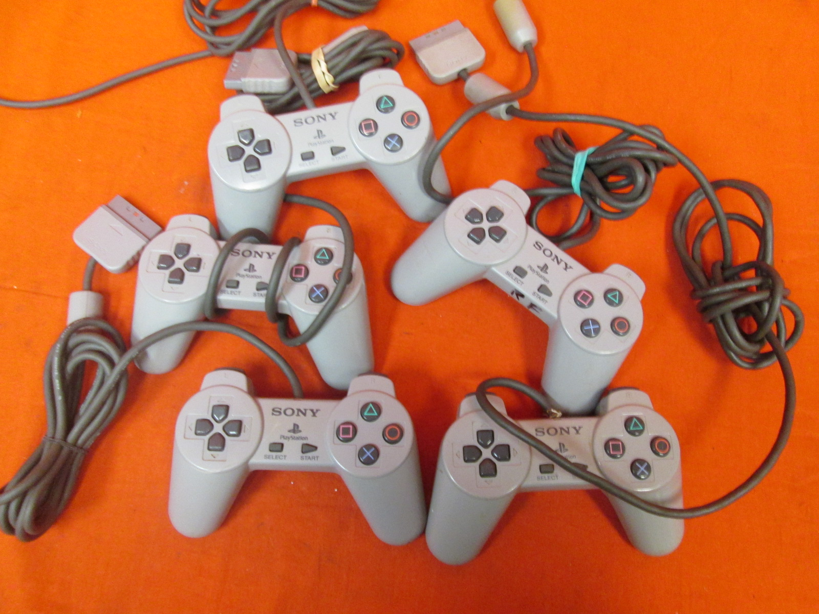 Lot Of 5 Sony PlayStation Controllers Non-Dualshock For PlayStation 1