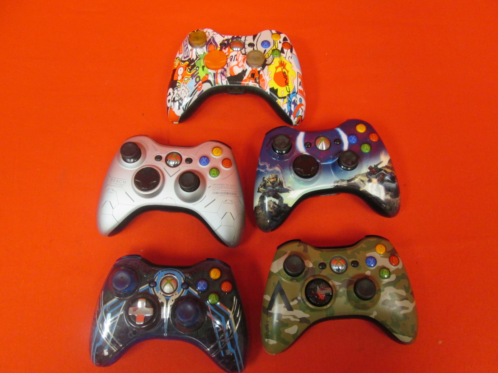 Broken Lot Of 5 Xbox 360 Wireless Controllers Special Edition