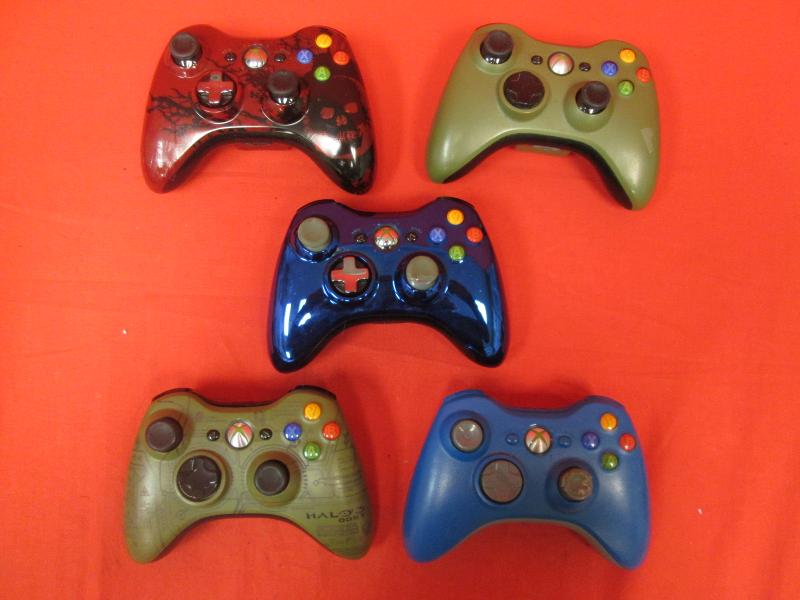 Broken Lot Of 5 Wireless Controllers For Xbox 360 Halo Gears Of War