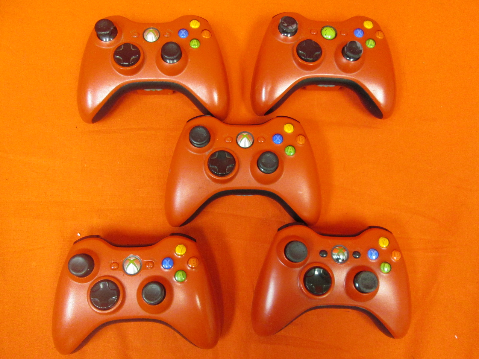 Broken Lot Of 5 Limited Edition Red Wireless Controllers For Xbox 360