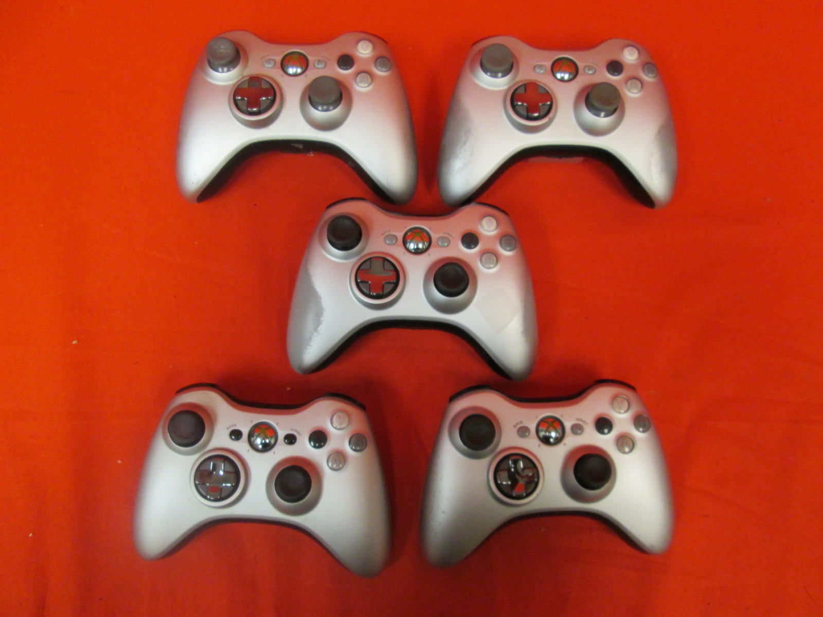 Broken Lot Of 5 Xbox 360 Silver Controllers