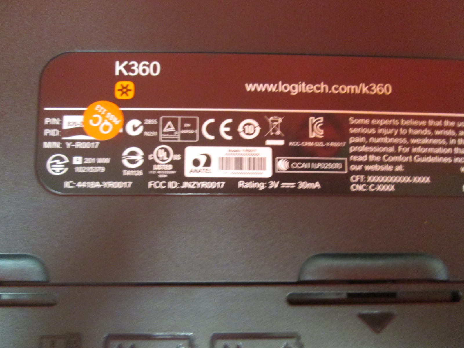 Image 1 of Unifying Logitech K360 Wireless Keyboard No Receiver
