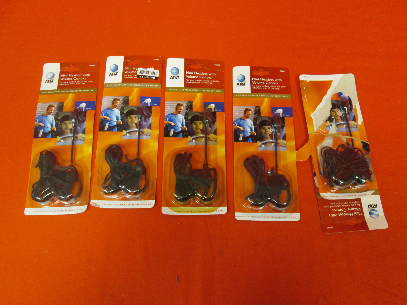 Lot Of 5 AT&T Mini Headsets With Volume Control 90895 Over-The-Ear