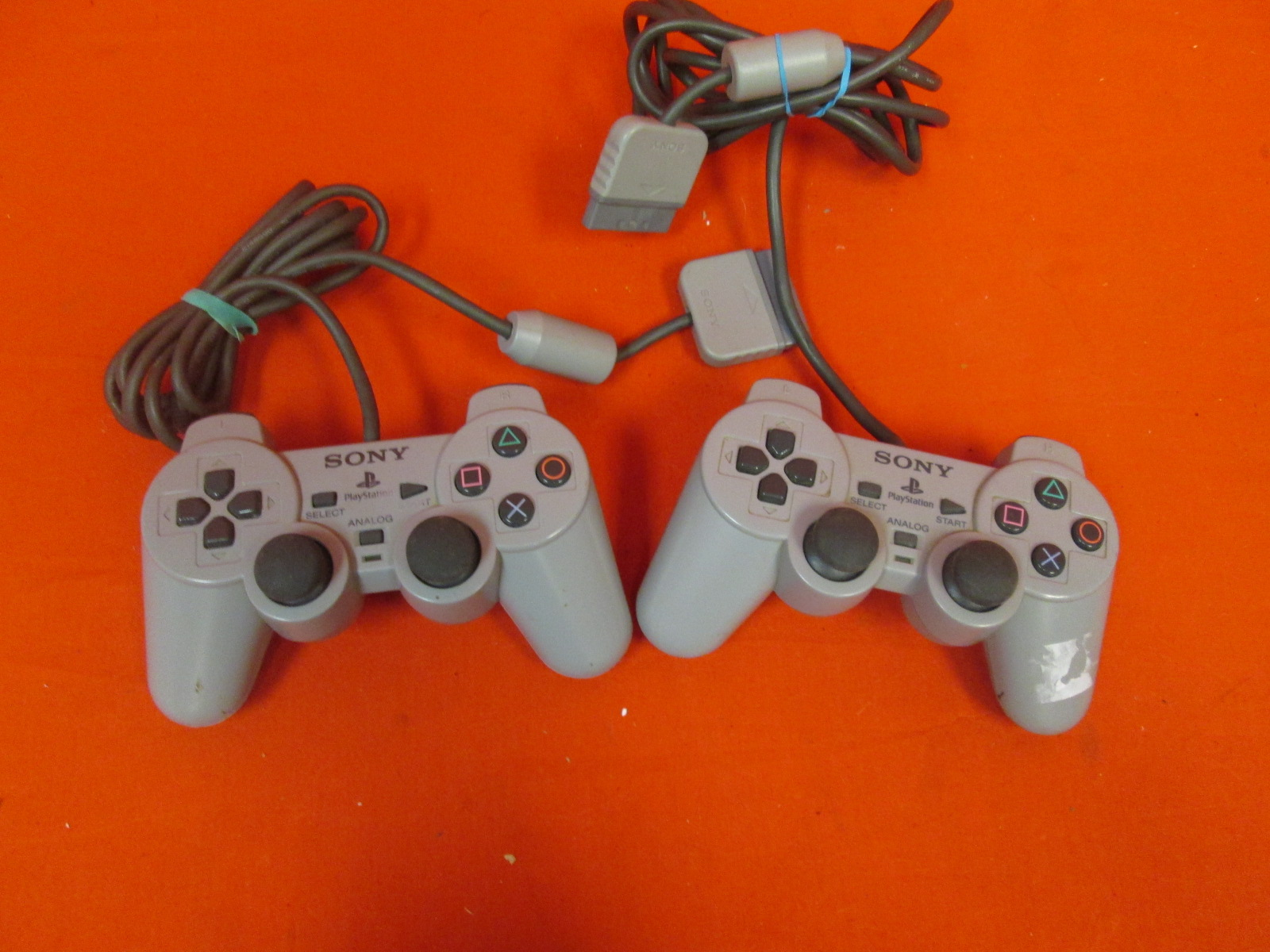 Lot Of 2 Sony Dualshock Controllers Gray For PlayStation 1 Remote