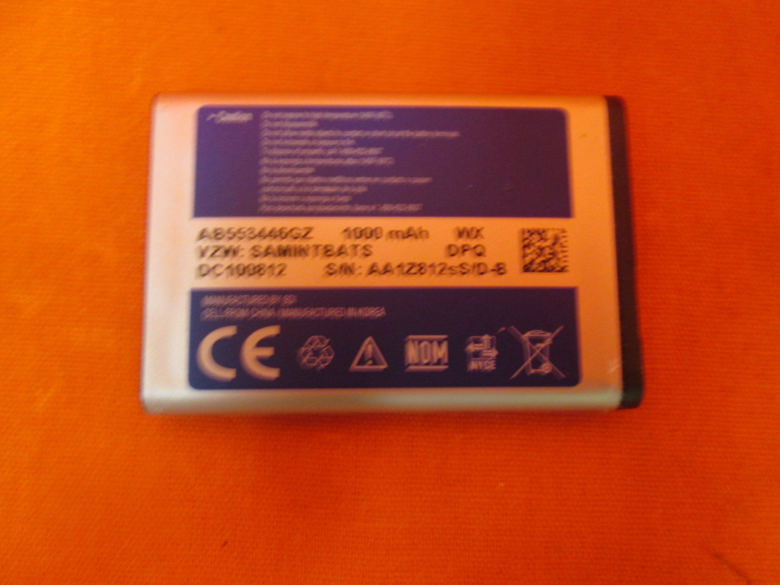 Samsung AB553446GZ/AB553446GZB/AB553446GZBSTD Lithium ION Battery