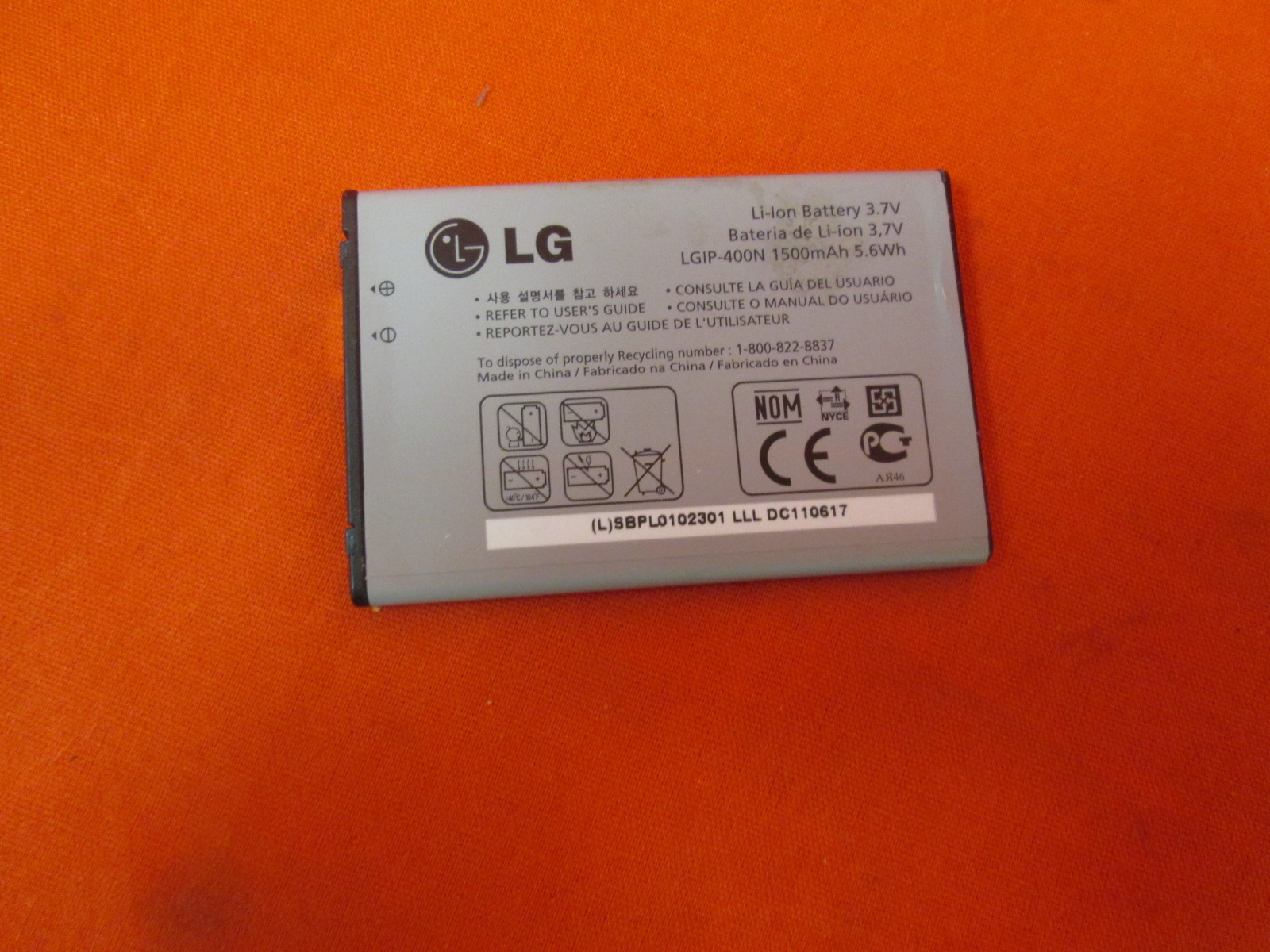 LG LGIP-400N 1500 Mah Battery For LG Optimus Puccini Phoenix Thrive