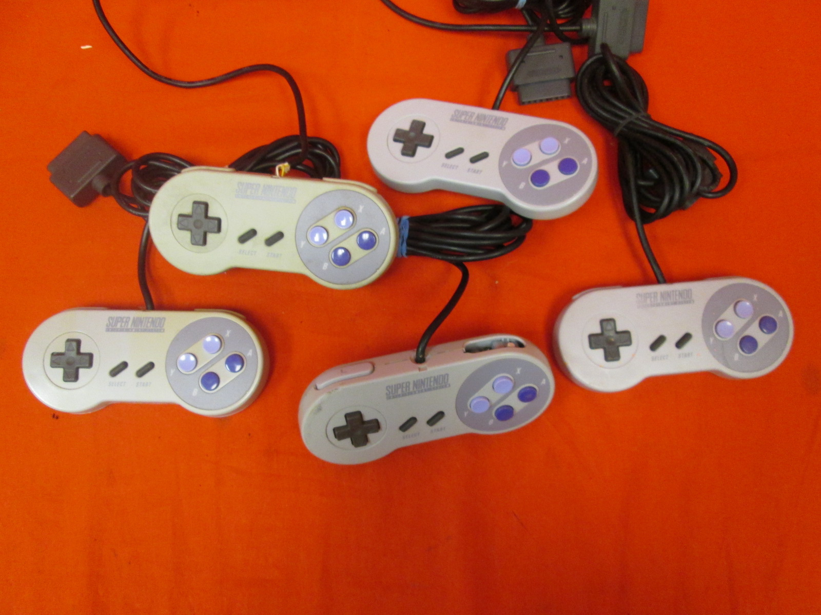 Broken Lot Of 5 Super Nintendo Controllers