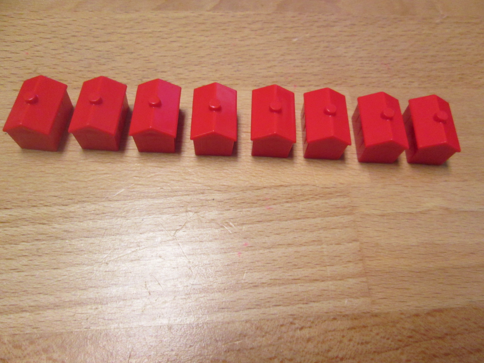 Lot Of 8 Replacement Red Hotels For Monopoly Classic Game