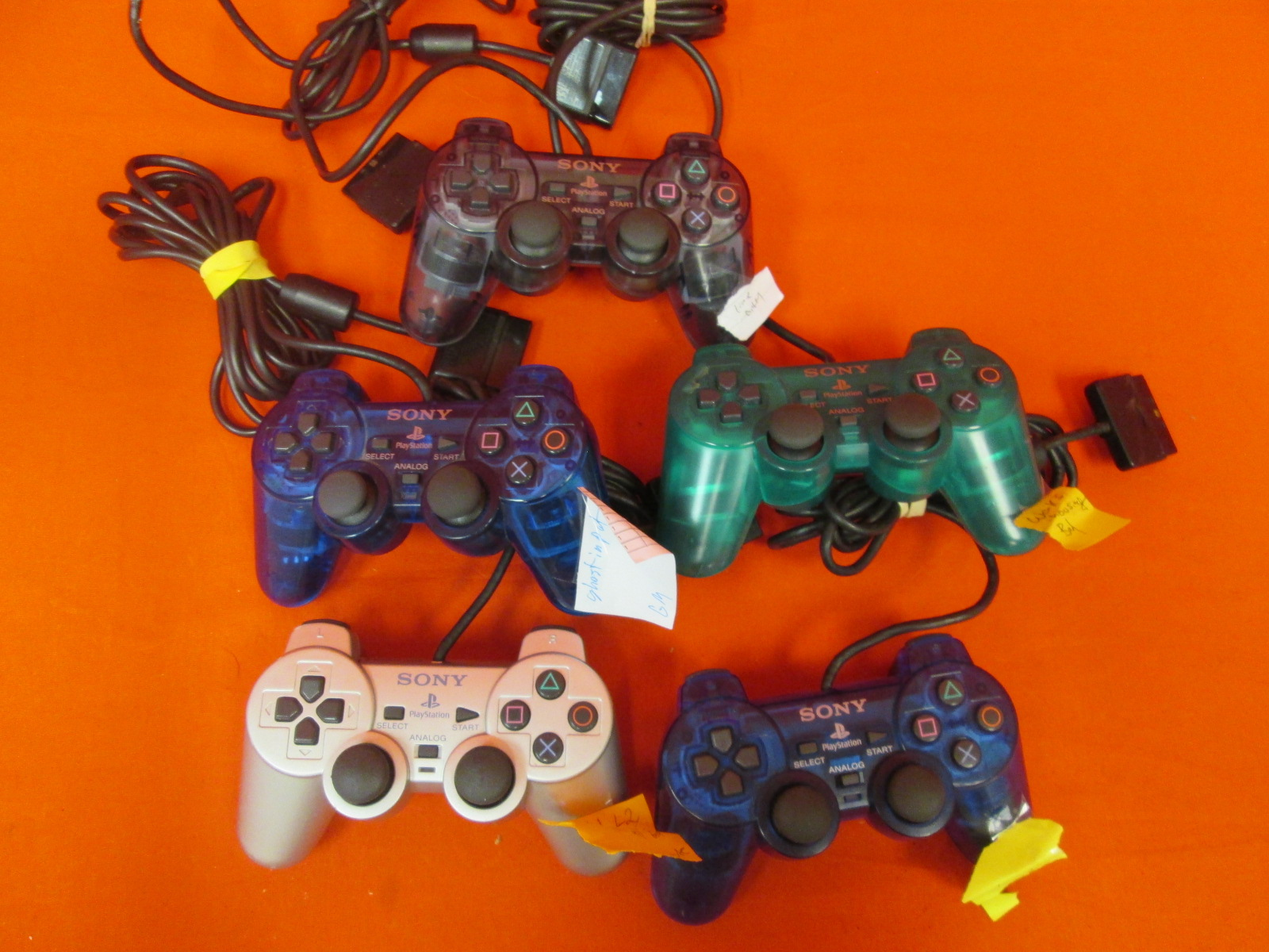 Image 0 of Broken Lot Of 5 Sony OEM Dualshock 2 PlayStation 2 Wired Controllers