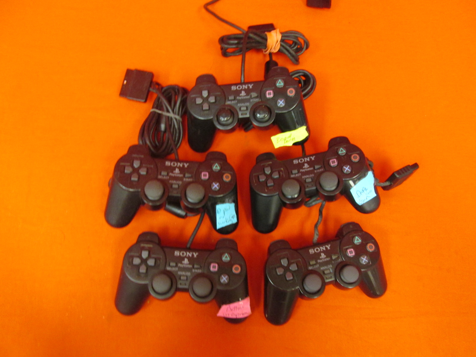 Broken Lot Of 5 Sony Brand Wired Controllers For PlayStation 2