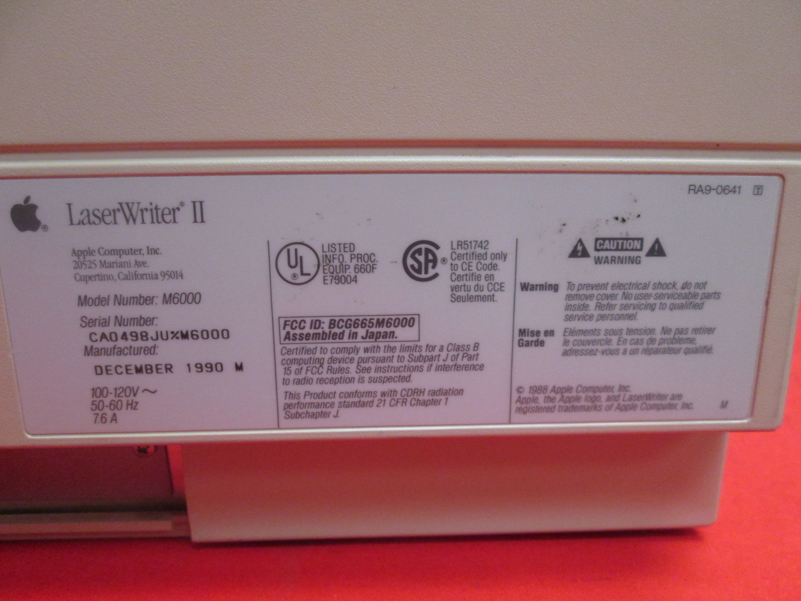 Image 1 of Vintage Apple Laserwriter II Ntx M6000 Laser Printer