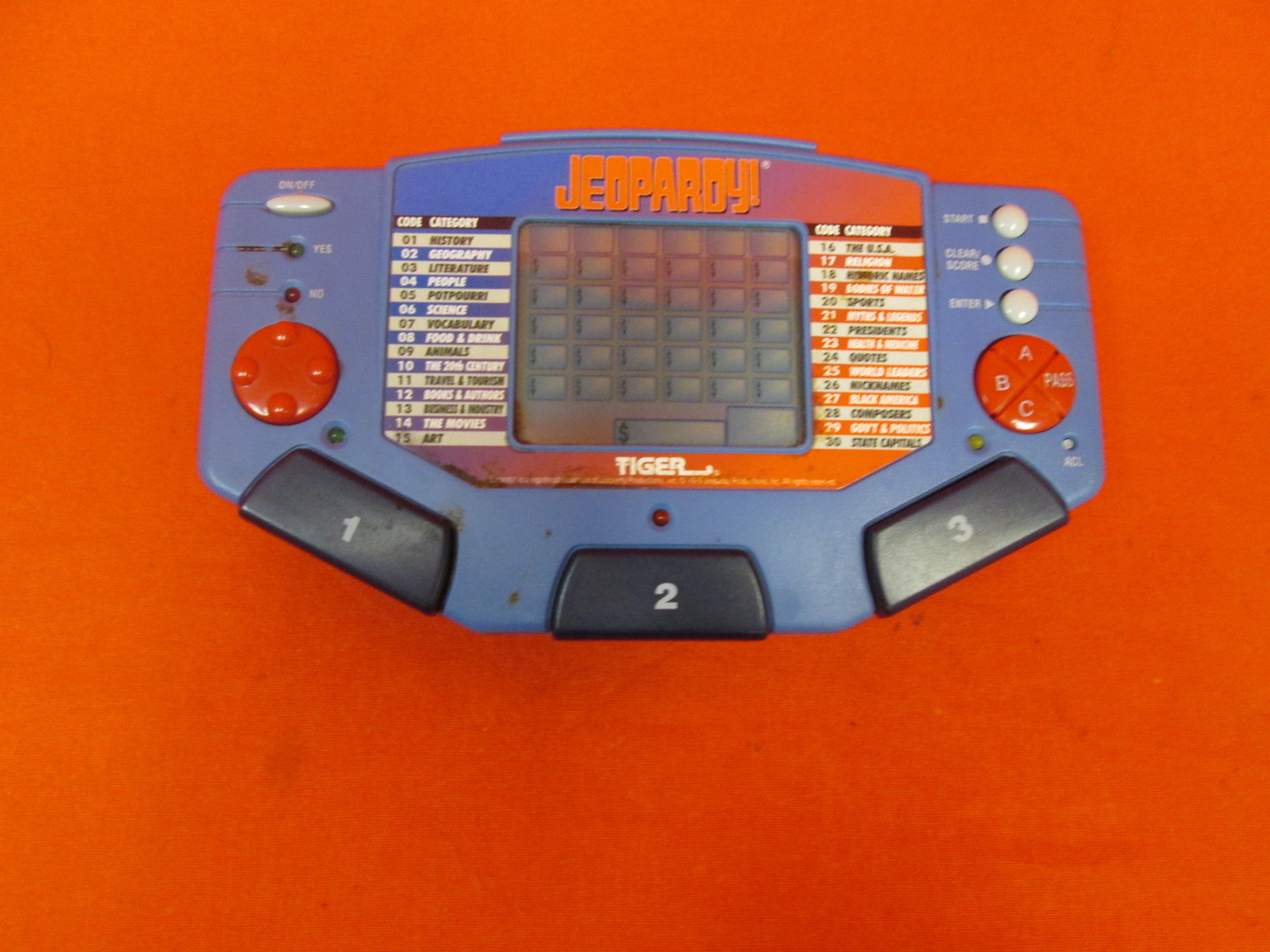 Broken Tiger Jeopardy Handheld Electronic Arcade Game Incomplete