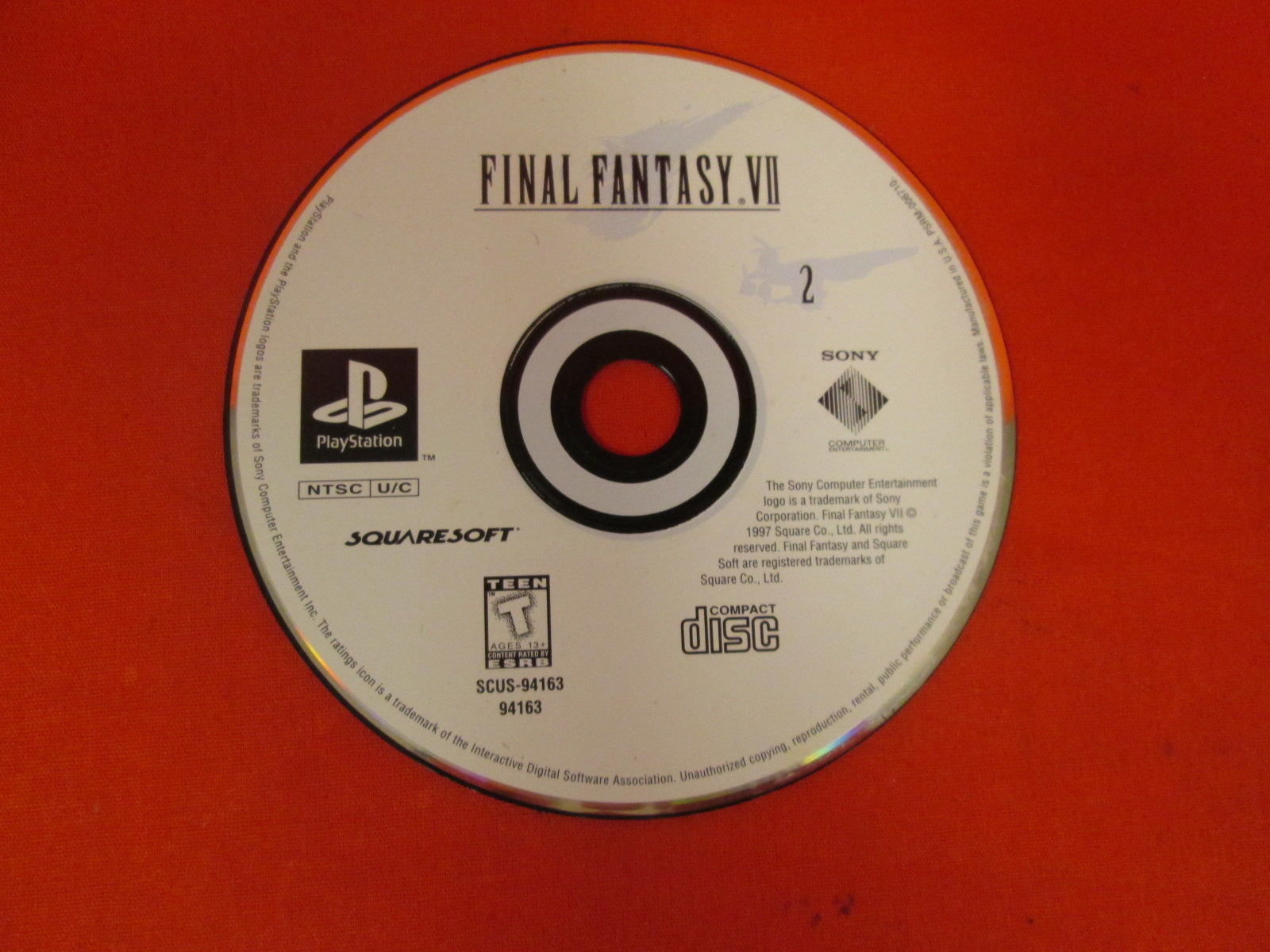 Replacement Disc 2 For Final Fantasy VII For PlayStation 1 Incomplete