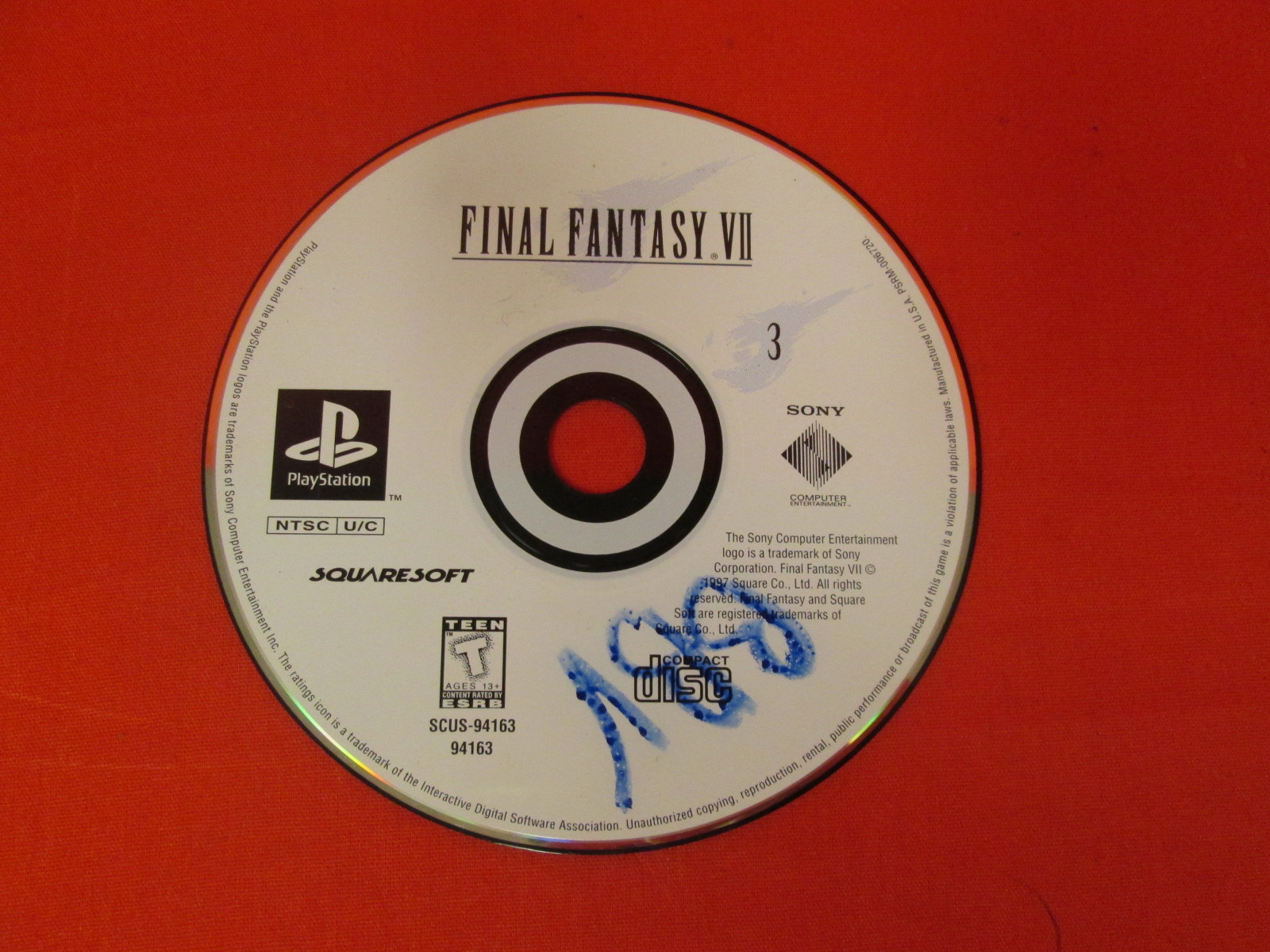 Replacement Disc 3 For Final Fantasy VII For PlayStation 1 Incomplete