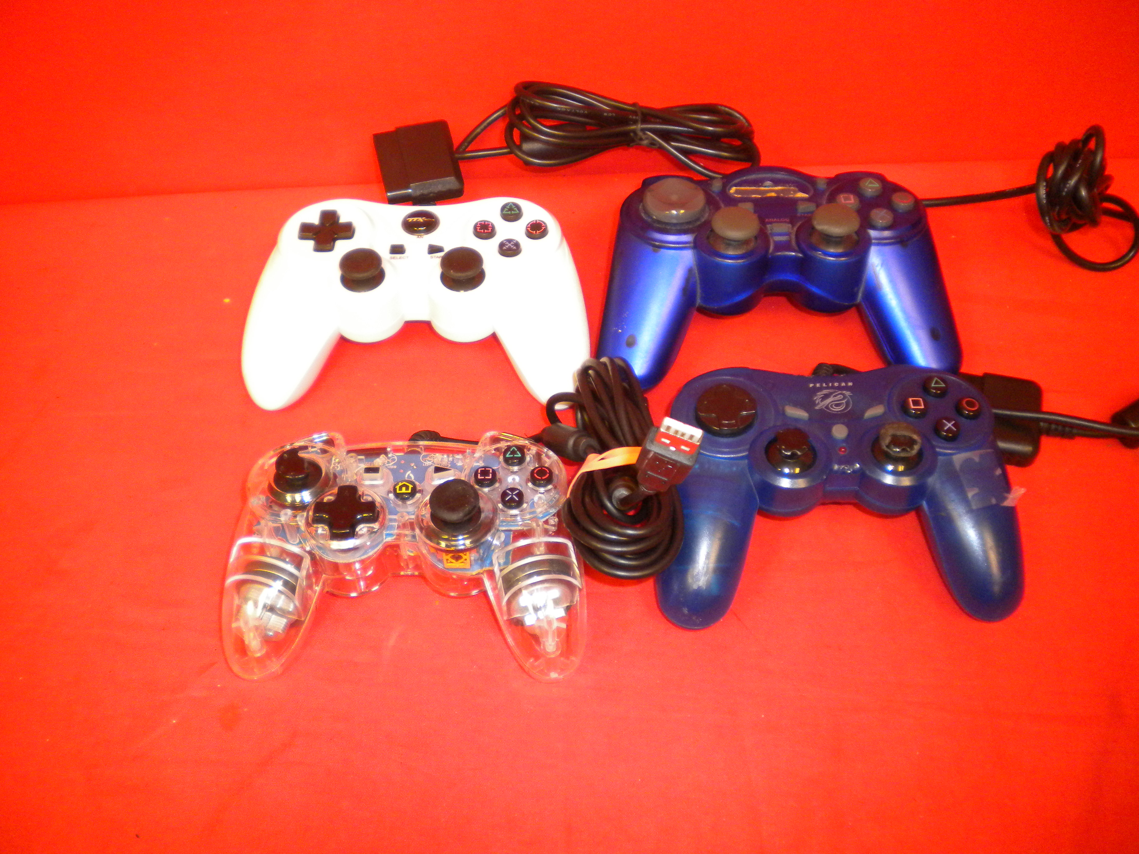 Lot Of 4 Generic Working Wired PlayStation Controllers