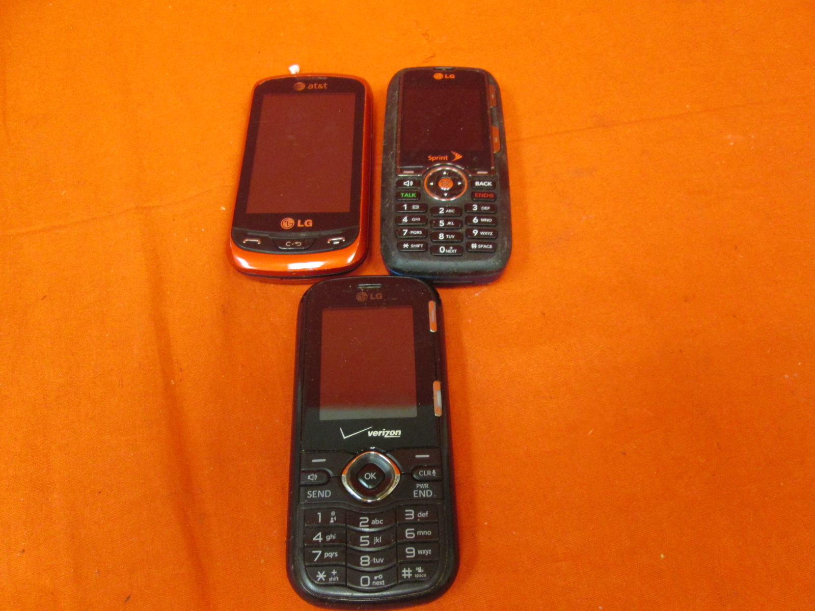 Broken Lot Of 3 LG Phones Verizon Sprint AT&T
