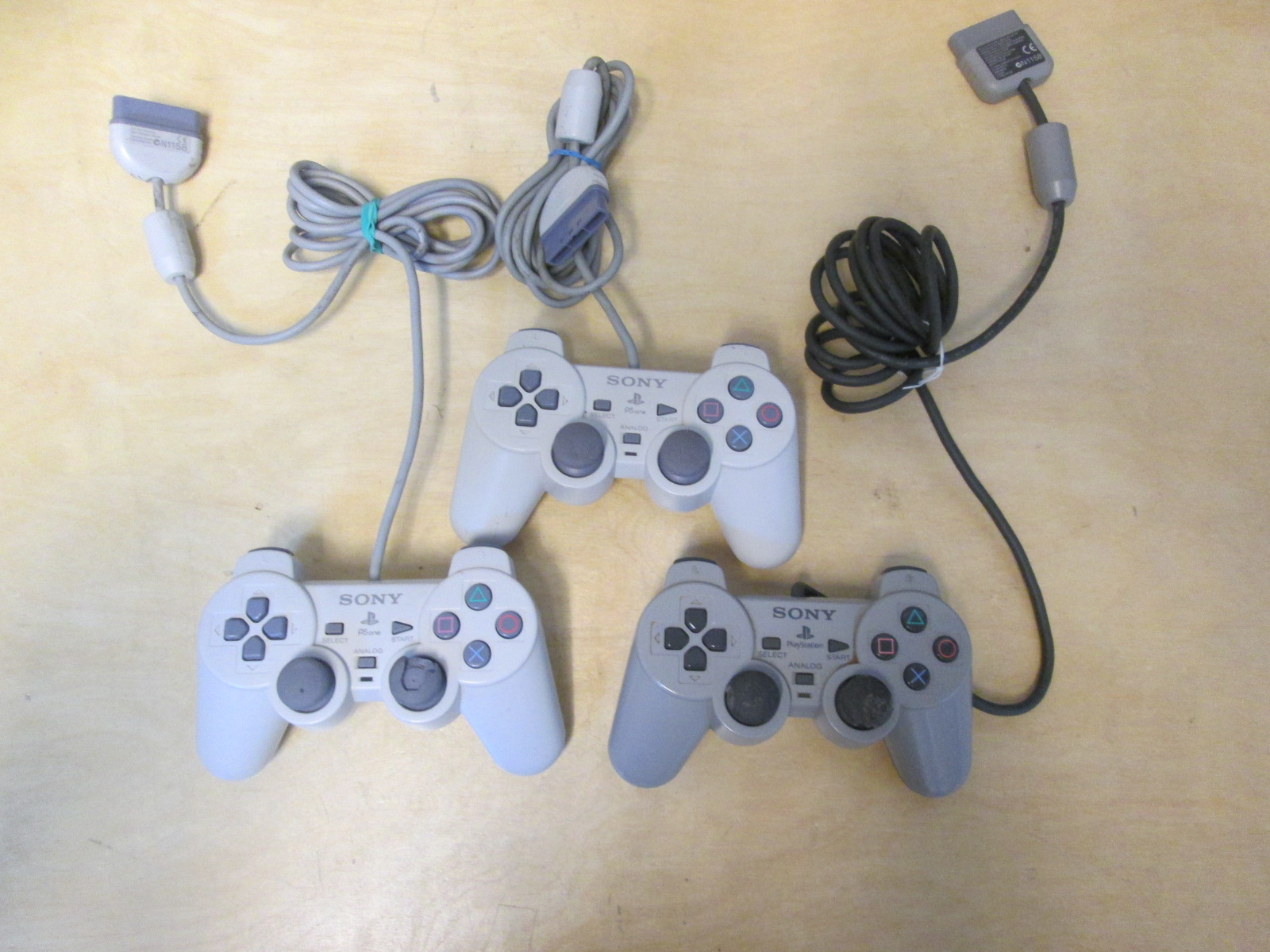 Lot Of 3 Sony PlayStation Dualshock Controllers Gray For PlayStation 1