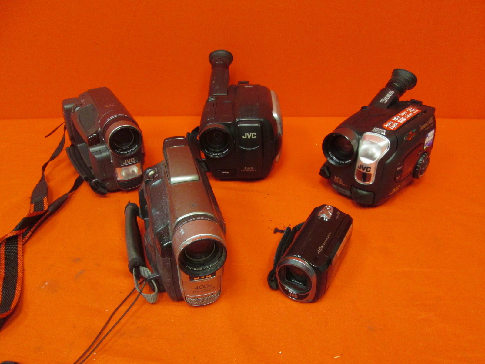 Broken Lot Of 5 JVC Camcorders