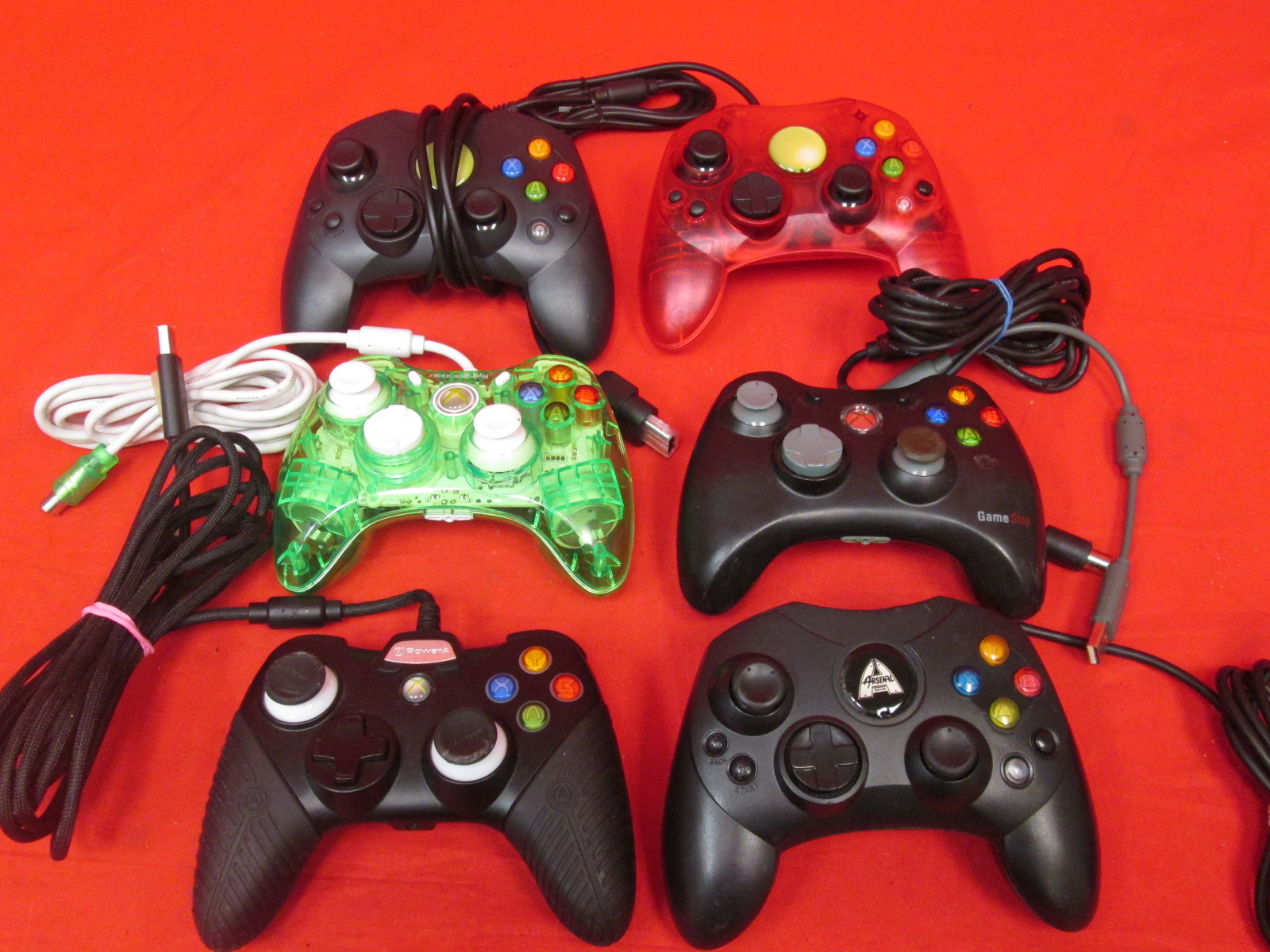 Lot Of 6 Generic Xbox Wired Controllers