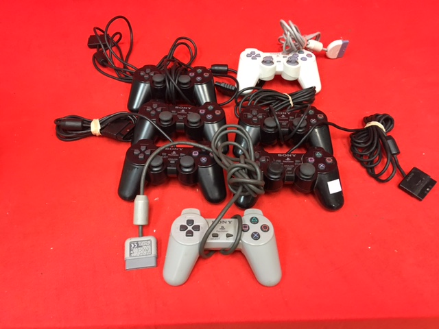 Lot Of 7 OEM Sony PlayStation PS2 PS1 Wired Controllers Broken
