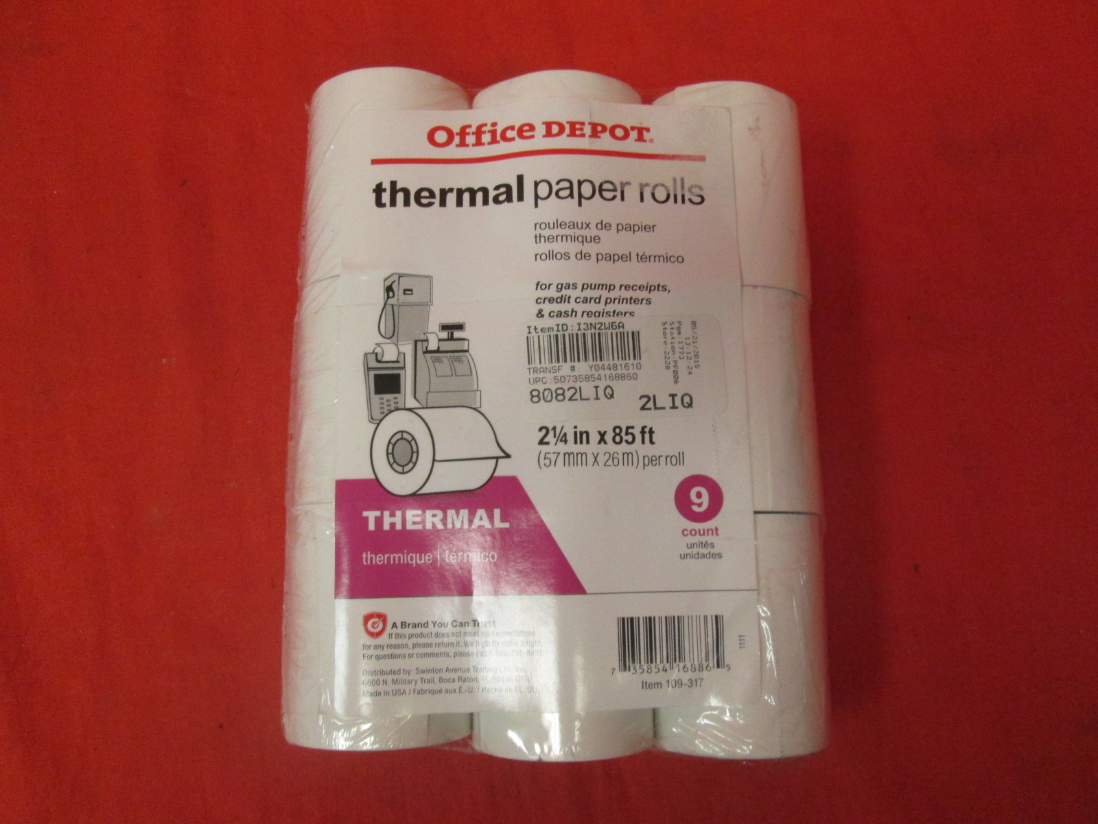 Office Depot Thermal Paper Rolls 2 1/4IN X 85FT White Pack Of 9 109317