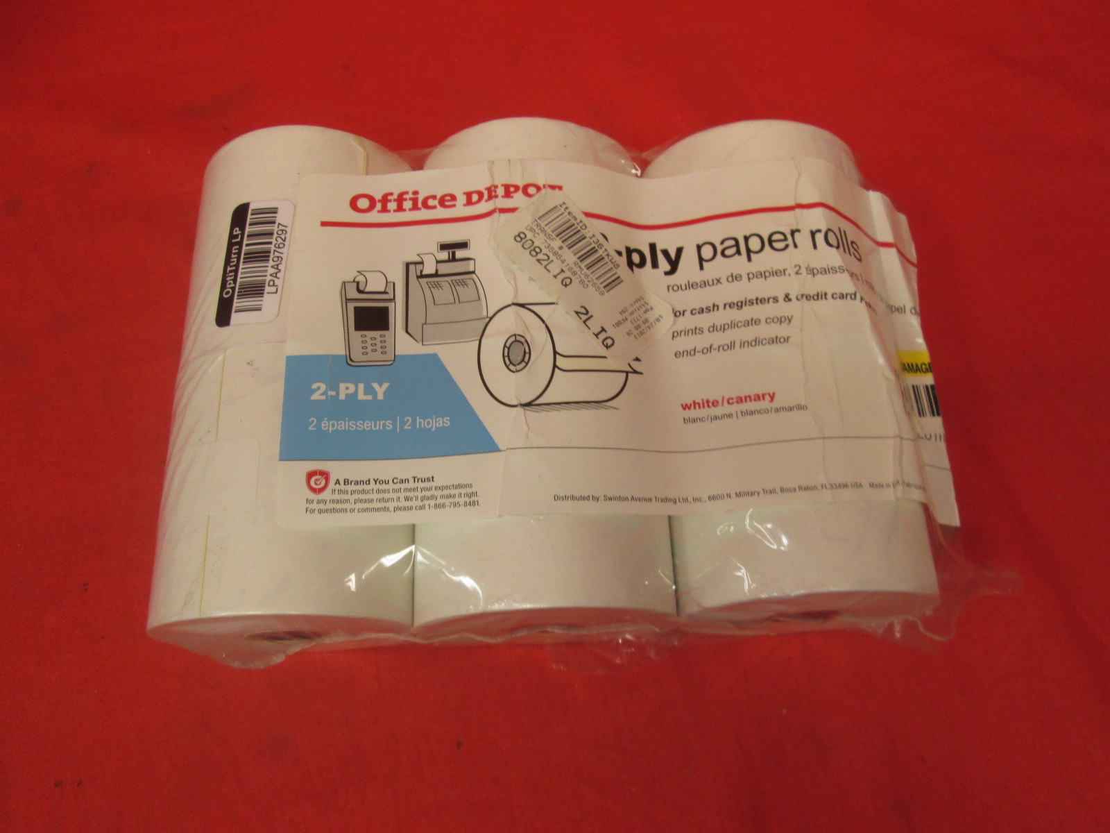 2-PLY Paper Rolls 2 3/4 X 85 Canary/white Pack Of 6