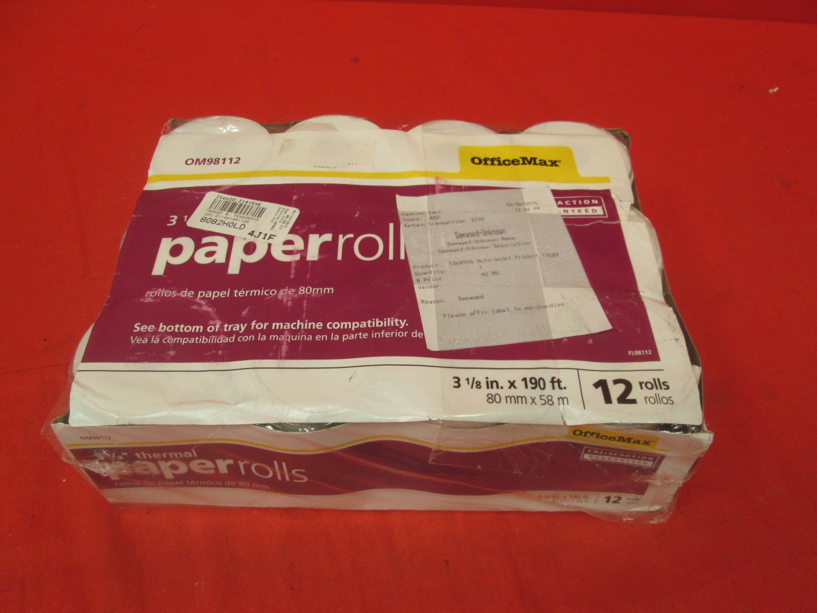 Officemax Thermal Register Roll 12 Pk