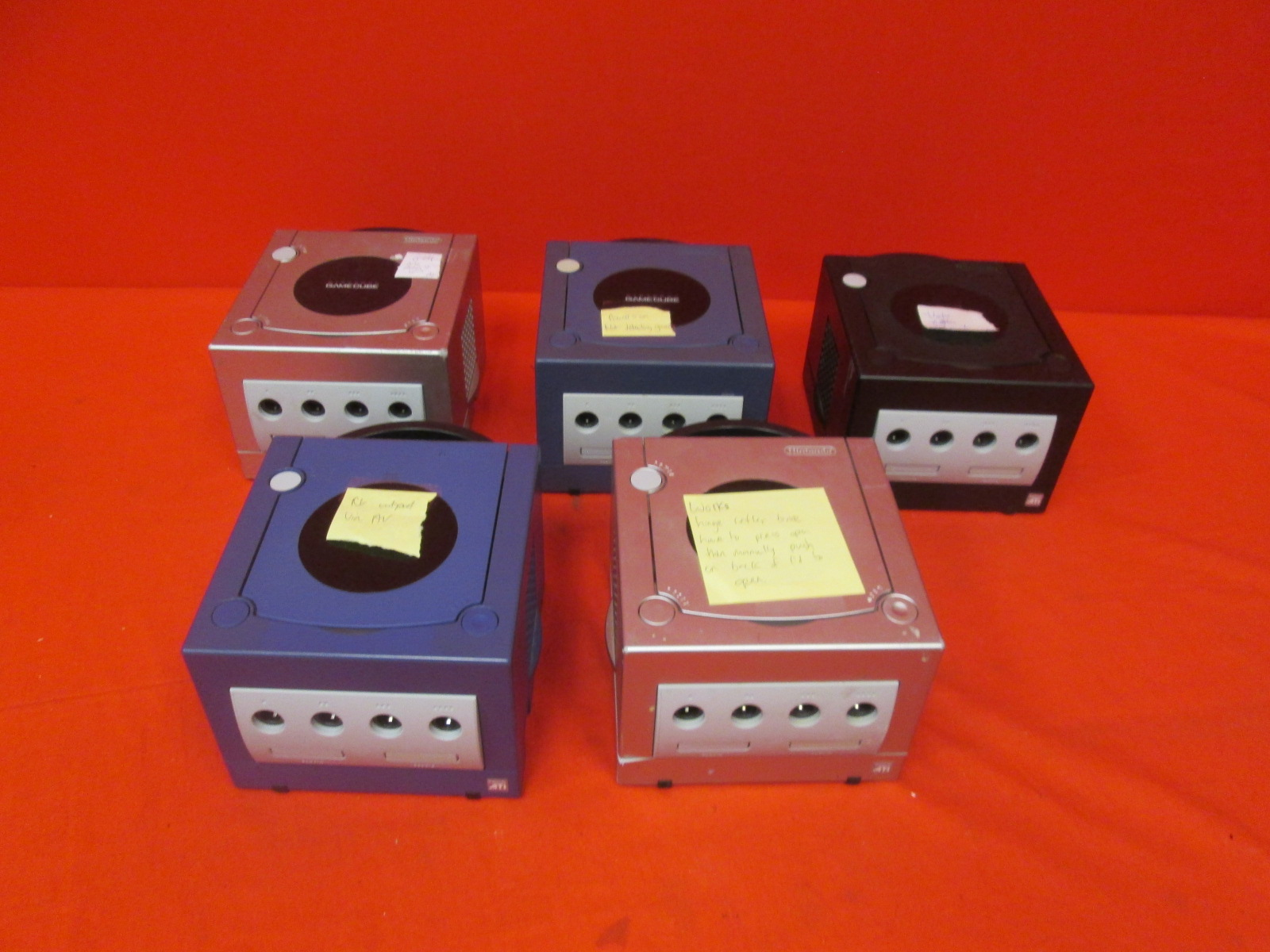 Broken Lot Of 5 Nintendo GameCube Video Game Consoles Only