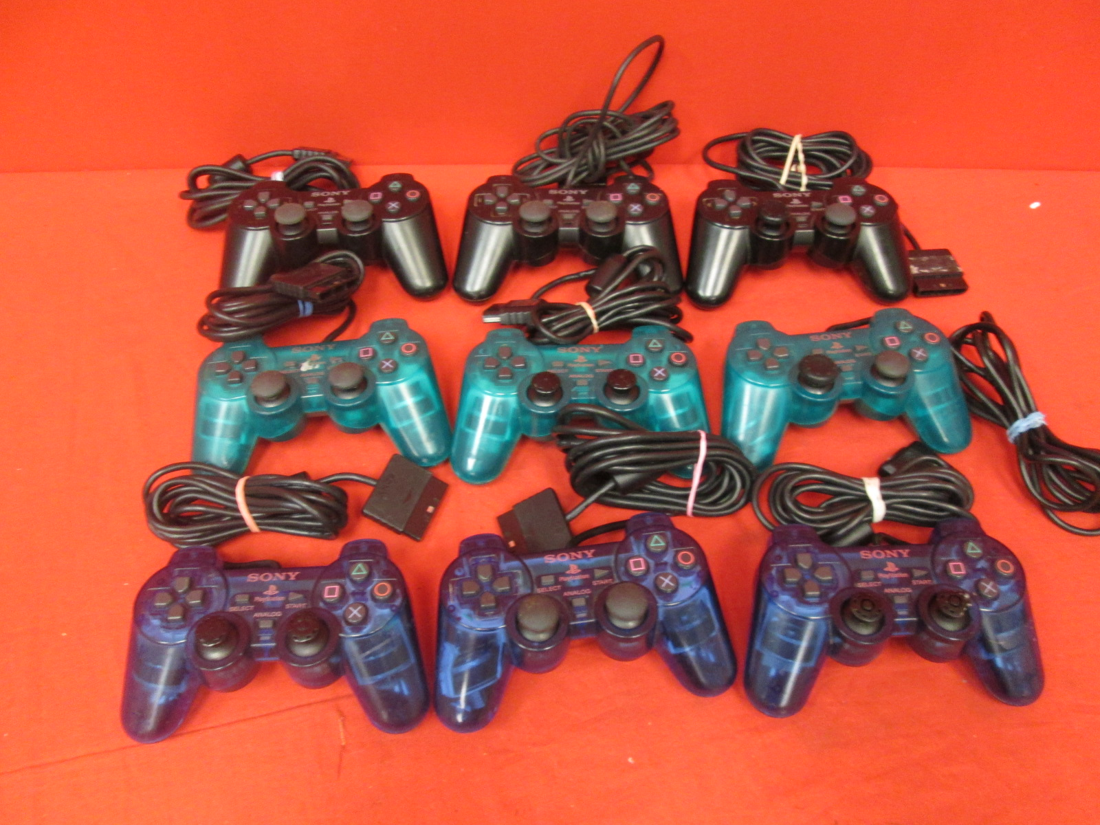 Broken Lot Of 9 Sony Dualshock Controller Black For PlayStation 2
