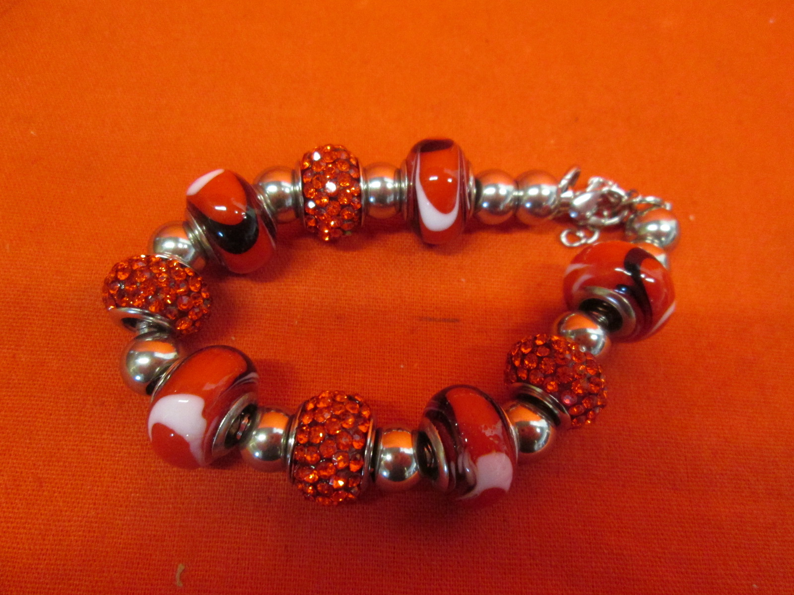 Stainless Steel Murano Bracelet With Charms Red SBK2554 Adjustable