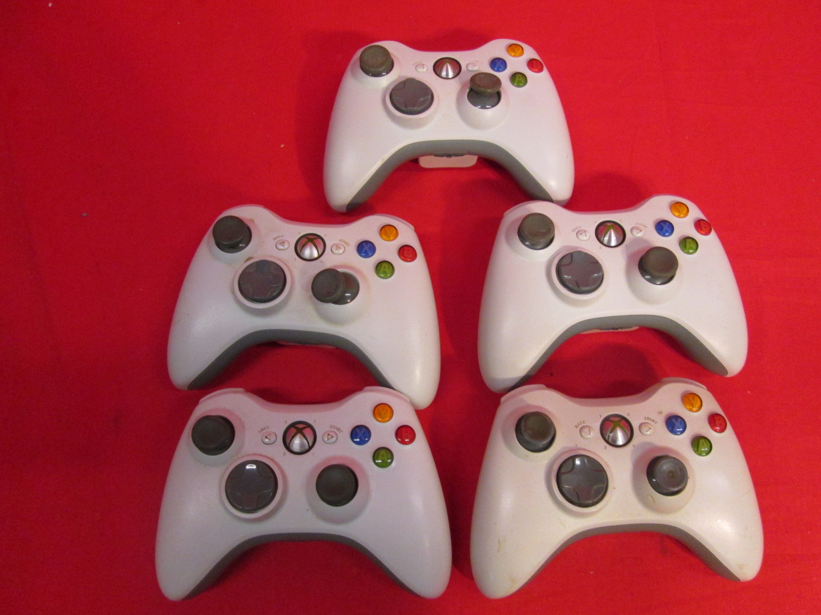 Broken Lot Of 5 Xbox 360 Wireless Controller White