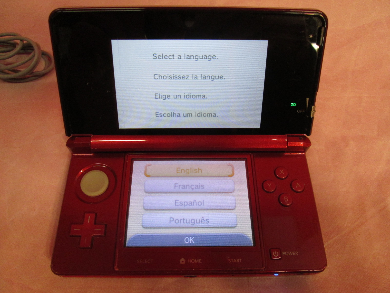 Nintendo 3ds Flame Red Portable System