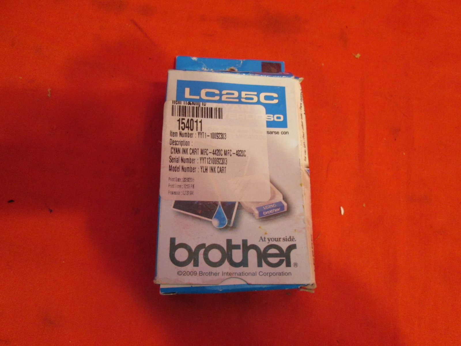 Brother Model LC25C Cyan Ink Cartridge Expired