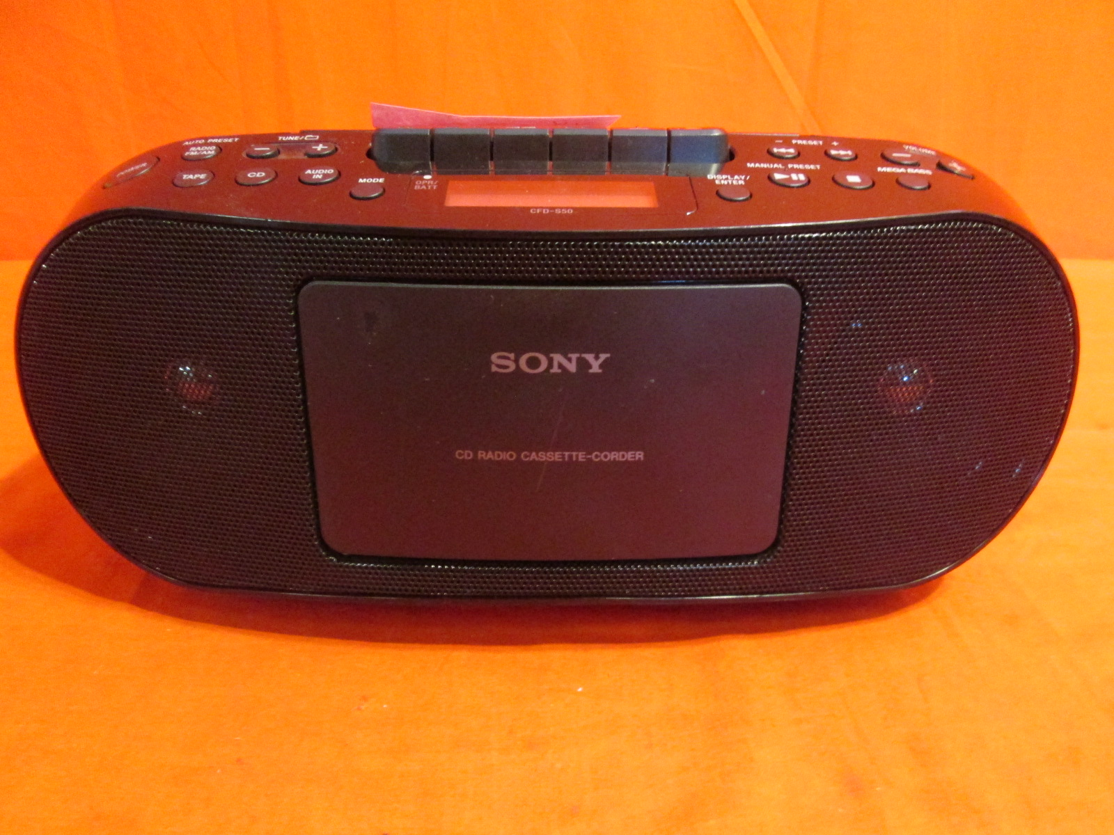 sony cfds50 portable cd cassette am fm radio boombox no. Black Bedroom Furniture Sets. Home Design Ideas