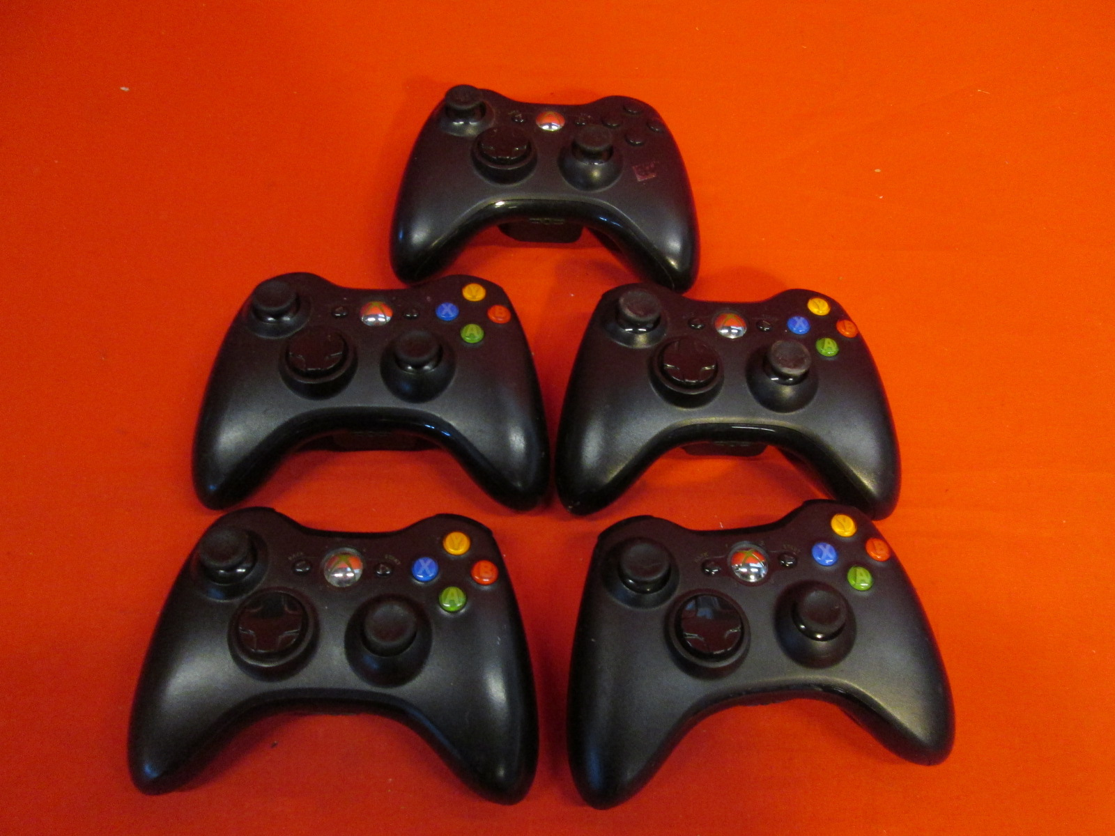 Broken Lot Of 5 Microsoft OEM Xbox 360 Wireless Controllers Black